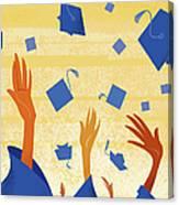 Graduates Throwing Graduation Hats Canvas Print