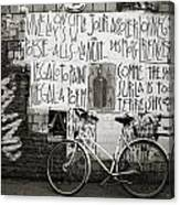 Graffiti And Bicycle Canvas Print