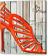 Graffiti Orange Cage Stilettos Canvas Print