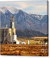 Grain Silo Below Wasatch Range - Utah Canvas Print