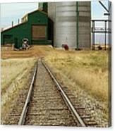 Grain Silos And Railway Track Canvas Print