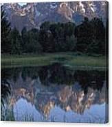 Grand Tetons From Schwabacher Landing Canvas Print
