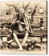 Granny Sitting On A Bench Knitting Ursinus College Canvas Print