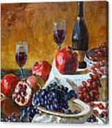 Grapes And Pomgranates Canvas Print