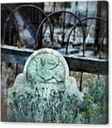 Gravestone With Dove Carved  Canvas Print