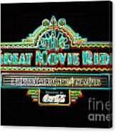 Great Movie Ride Neon Sign Hollywood Studios Walt Disney World Prints Glowing Edges Canvas Print