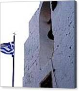 Greek Flag Flying Canvas Print