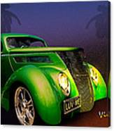 Green 37 Ford Hot Rod Decked Out For A Tropical Saint Patrick Day In South Texas Canvas Print
