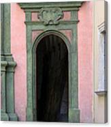 Green And Pink Doorway In Krakow Poland Canvas Print