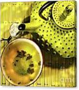 Green Asian Teapot With Cup  Canvas Print