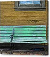 Green Bench At Train Station Canvas Print