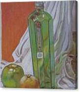 Green Bottle And Fruit. Canvas Print