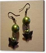 Green Butterfly Earrings Canvas Print