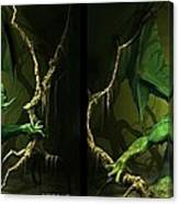 Green Dragon - Gently Cross Your Eyes And Focus On The Middle Image Canvas Print