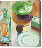 Green Glass And Plates Canvas Print