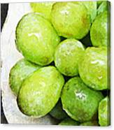 Green Grapes On A Plate Canvas Print