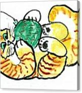 Green Ornament - Holiday Cat 20 Canvas Print