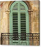 Green Shutters And Balcony In Verona Canvas Print