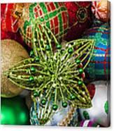 Green Star Christmas Ornament Canvas Print