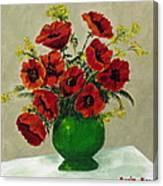 Green Vase Red Poppies Canvas Print