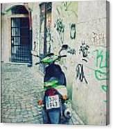 Green Vespa In Prague Canvas Print
