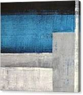 Straight Forward - Teal And Grey Abstract Art Painting Canvas Print