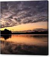 Grey Clouds And Orange Sunrise Canvas Print