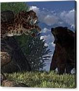 Grizzly Vs. Saber-tooth Canvas Print