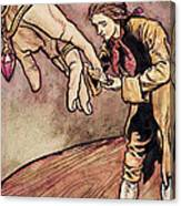 Gulliver In Brobdingnag Kissing The Hand Of The Queen Canvas Print