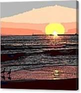 Gulls Enjoying Beach At Sunset Canvas Print