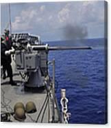 Gunner Fires A Mark 38 Machine Gun Canvas Print