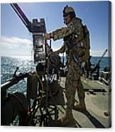 Gunner Mans A M240 Machine Gun Canvas Print