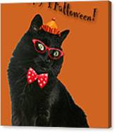 Halloween Card - Black Cat Ready To Party Canvas Print
