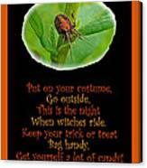 Halloween Card - Spider And Poem Canvas Print