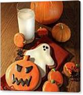 Halloween Cookies With A Glass Of Milk Canvas Print