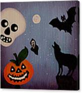 Halloween Night Original Acrylic Painting Placemat Canvas Print