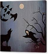 Halloween Night Party Original Painting Placemat Doormat Canvas Print