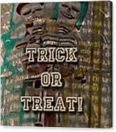 Halloween Trick Or Treat Skeleton Greeting Card Canvas Print