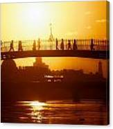 Hapenny Bridge Over River Liffey River Canvas Print