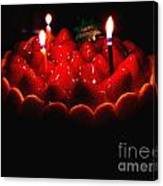 Happy Birthday Strawberry Charlotte Cake Canvas Print