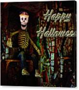 Happy Halloween Skeleton Greeting Card Canvas Print
