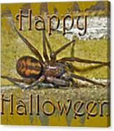 Happy Halloween Spider Greeting Card Canvas Print