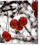 Happy Holidays Berries Canvas Print