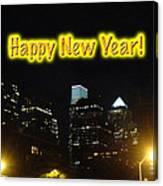 Happy New Year Greeting Card - Philadelphia At Night Canvas Print