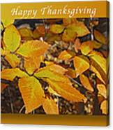 Happy Thanksgiving Beech Leaves Canvas Print