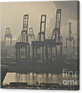 Harbor Cranes Canvas Print