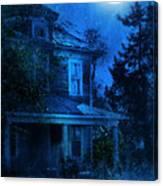 Haunted House Full Moon Canvas Print