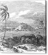 Havana, Cuba, 1851. /na View Of The Harbor And Fort Of Atares. Wood Engraving, English, 1851 Canvas Print