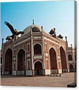 Hawk Flying Next To Humayun Tomb Delhi Canvas Print