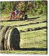 Hay Bale And Tractor Canvas Print